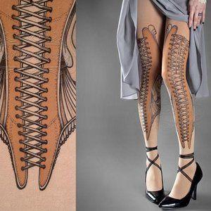 Two pair of Tattoo Socks brand tights